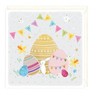 Bunny And Bunting Happy Easter Greetings Card