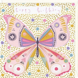 Golden Butterfly Birthday Card