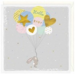Bunny And Balloons New Baby Card