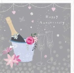 Flowers And Bubbles Anniversary Card